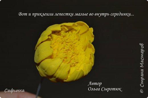 """Приветик Всем, мои дорогие!!! И снова я,, Ольга Сыротюк с Вами....Сегодня предлагаю Вашему вниманию  Мастер-класс по созданию загадочного цветка,Гербера сорта """"Гелиос"""" (желтая) Почему желтая гербера?  Гербера- цветок противоречий, он прост и в тоже время загадочен, выразителен и ярок ! Одно из значений герберы - тайна! Это хорошо подтверждает, и внешний вид цветка... Гербера сможет порадовать всех сразу и каждого по отдельности, никого не оставит без внимания!  Красные герберы-принято дарить мужчинам, Нежно розовые - девушкам,женщинам...А желтые, оранжевые принесут удачу в любой дом, их можно дарить на семейное торжество!  Поэтому творим сегодня, желтые герберы и привлекаем удачу в свой дом!!! И так вдохновились? Вооружаемся материалом и начинаем творить волшебство.... фото 31"""