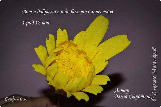 """Приветик Всем, мои дорогие!!! И снова я,, Ольга Сыротюк с Вами....Сегодня предлагаю Вашему вниманию  Мастер-класс по созданию загадочного цветка,Гербера сорта """"Гелиос"""" (желтая) Почему желтая гербера?  Гербера- цветок противоречий, он прост и в тоже время загадочен, выразителен и ярок ! Одно из значений герберы - тайна! Это хорошо подтверждает, и внешний вид цветка... Гербера сможет порадовать всех сразу и каждого по отдельности, никого не оставит без внимания!  Красные герберы-принято дарить мужчинам, Нежно розовые - девушкам,женщинам...А желтые, оранжевые принесут удачу в любой дом, их можно дарить на семейное торжество!  Поэтому творим сегодня, желтые герберы и привлекаем удачу в свой дом!!! И так вдохновились? Вооружаемся материалом и начинаем творить волшебство.... фото 33"""