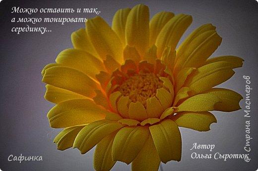 """Приветик Всем, мои дорогие!!! И снова я,, Ольга Сыротюк с Вами....Сегодня предлагаю Вашему вниманию  Мастер-класс по созданию загадочного цветка,Гербера сорта """"Гелиос"""" (желтая) Почему желтая гербера?  Гербера- цветок противоречий, он прост и в тоже время загадочен, выразителен и ярок ! Одно из значений герберы - тайна! Это хорошо подтверждает, и внешний вид цветка... Гербера сможет порадовать всех сразу и каждого по отдельности, никого не оставит без внимания!  Красные герберы-принято дарить мужчинам, Нежно розовые - девушкам,женщинам...А желтые, оранжевые принесут удачу в любой дом, их можно дарить на семейное торжество!  Поэтому творим сегодня, желтые герберы и привлекаем удачу в свой дом!!! И так вдохновились? Вооружаемся материалом и начинаем творить волшебство.... фото 38"""