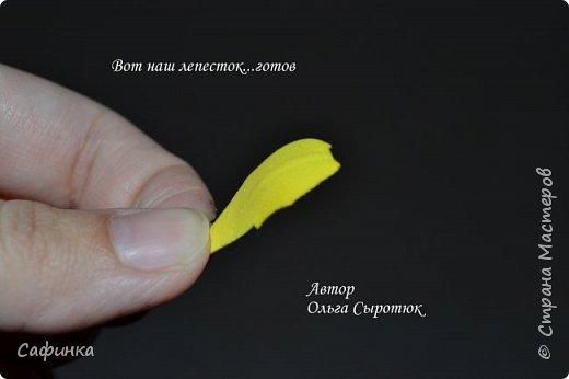 """Приветик Всем, мои дорогие!!! И снова я,, Ольга Сыротюк с Вами....Сегодня предлагаю Вашему вниманию  Мастер-класс по созданию загадочного цветка,Гербера сорта """"Гелиос"""" (желтая) Почему желтая гербера?  Гербера- цветок противоречий, он прост и в тоже время загадочен, выразителен и ярок ! Одно из значений герберы - тайна! Это хорошо подтверждает, и внешний вид цветка... Гербера сможет порадовать всех сразу и каждого по отдельности, никого не оставит без внимания!  Красные герберы-принято дарить мужчинам, Нежно розовые - девушкам,женщинам...А желтые, оранжевые принесут удачу в любой дом, их можно дарить на семейное торжество!  Поэтому творим сегодня, желтые герберы и привлекаем удачу в свой дом!!! И так вдохновились? Вооружаемся материалом и начинаем творить волшебство.... фото 9"""