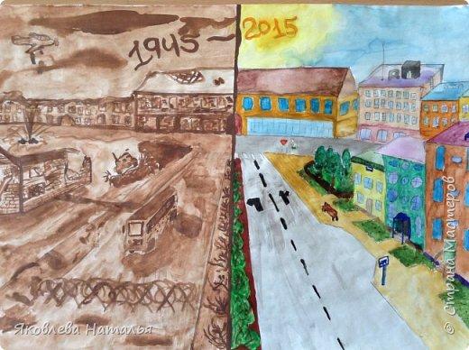 Доброго времени суток! Поздравляю всех с наступающим Великим праздником - Днём Победы!!! В преддверии этого события, рисовали с детьми с 1 по 7 класс работы, используя различные материалы. Сначала работы гуашью. Желаю приятного просмотра! фото 13