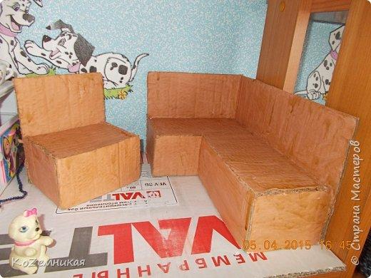 """Вся мебель загадывалась немного другой, но что-то не так пошло, и долгое время лежали вещицы недоделанными. Потом все-таки кое-как закончила, не как хотела. Как говорится, """"сделать хотел утюг..."""" Кухонные диваны и стол. фото 2"""