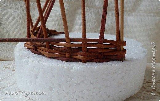 Мастер-класс Плетение Мини МК по плетению Ушастой корзины  Трубочки бумажные фото 8