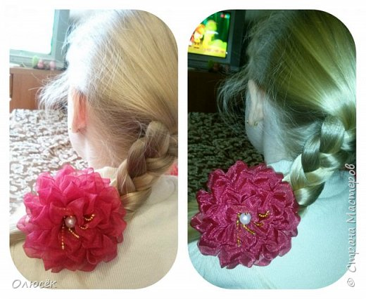 Цветочки для дочки из капроновых лент :) фото 2