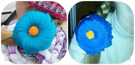 Цветочки для дочки из капроновых лент :) фото 3