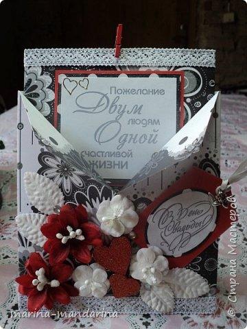 Здравствуйте,дорогие Мастерицы!Хочу показать вам две открыточки в красно-бело-черной гамме,очень люблю такое сочетание цветов.Одна открыточка свадебная.другая с Днем Рождения.В открытках использовала надписи Марины Абрамовой и Артема Лебедева(спасибо им большое).Итак,свадебная открытка,состоит из конверта и вкладыша фото 1