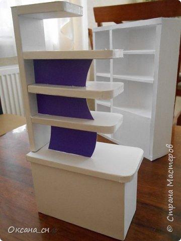 Здравствуйте, жители Страны Мастеров! По вашей просьбе постараюсь выложить МК создания мебели. Как видите, я немножко её приукрасила, добавив горшки с цветами и книги.   фото 40
