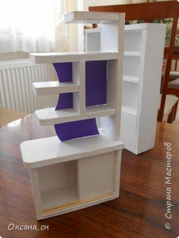 Здравствуйте, жители Страны Мастеров! По вашей просьбе постараюсь выложить МК создания мебели. Как видите, я немножко её приукрасила, добавив горшки с цветами и книги.   фото 41
