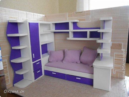 Здравствуйте, жители Страны Мастеров! По вашей просьбе постараюсь выложить МК создания мебели. Как видите, я немножко её приукрасила, добавив горшки с цветами и книги.   фото 46