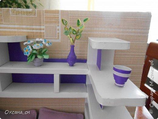 Здравствуйте, жители Страны Мастеров! По вашей просьбе постараюсь выложить МК создания мебели. Как видите, я немножко её приукрасила, добавив горшки с цветами и книги.   фото 50
