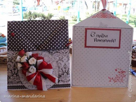Здравствуйте,дорогие Мастерицы!Хочу показать вам две открыточки в красно-бело-черной гамме,очень люблю такое сочетание цветов.Одна открыточка свадебная.другая с Днем Рождения.В открытках использовала надписи Марины Абрамовой и Артема Лебедева(спасибо им большое).Итак,свадебная открытка,состоит из конверта и вкладыша фото 7