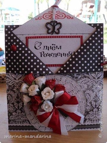 Здравствуйте,дорогие Мастерицы!Хочу показать вам две открыточки в красно-бело-черной гамме,очень люблю такое сочетание цветов.Одна открыточка свадебная.другая с Днем Рождения.В открытках использовала надписи Марины Абрамовой и Артема Лебедева(спасибо им большое).Итак,свадебная открытка,состоит из конверта и вкладыша фото 6