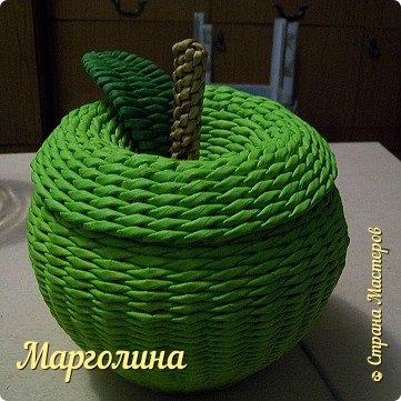 Мастер-класс Поделка изделие Плетение Как я плету крышечку для шкатулки Яблоко Небольшой МК Трубочки бумажные фото 1