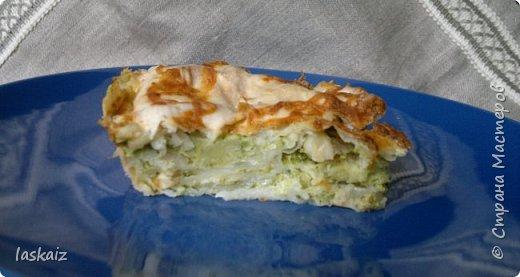 Добрый день! Пирог с брокколи: продукты: лаваш тонкий,брокколи замороженная,яйцо,молоко,сыр твердый,лук репчатый,масло растительное. Отвариваем брокколи,обжариваем репчатый лук, соединяем с брокколи и мнем вилкой. Взбиваем молоко с солью и яйцом. Трем на мелкой терке сыр. Форму смазываем маслом. Кладем лист тонкого лаваша, ровно по форме, на него средний слой брокколи с луком,посыпали сыром,слегка смочили молоком с взбитым яйцом. Так сделали три слоя. Накрыли листом лаваша. Залили молоком,хорошенько прижали,чтобы все слои пропитались и засыпали сыром. Духовка 200 гр, 40 минут. На фото она холодная,когда горячая сырок подтекает,даже выглядит аппетитно)