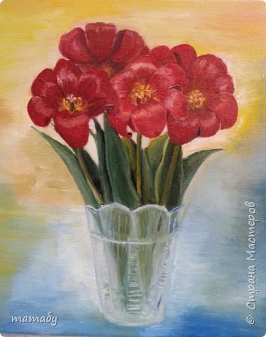 Привет всем! Мы привезли с дачи необычные тюльпаны. Мне они очень понравились и я решила запечатлеть их маслом на холсте . Это мои первые опыты рисования масляными красками...