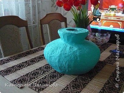 Вот такая весенняя радостная получилась ваза высотой 20см диаметром 30см фото 9