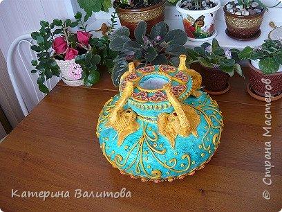Вот такая весенняя радостная получилась ваза высотой 20см диаметром 30см фото 19