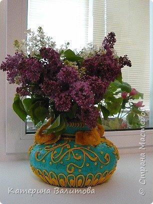 Вот такая весенняя радостная получилась ваза высотой 20см диаметром 30см фото 1