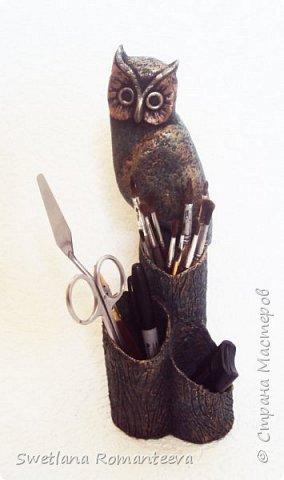 """Здравствуйте! Представляю вам, свою новую работу карандашницу """" Сова"""". Карандашница высотой 28см., сделана в технике папье-маше, в работе использовала пенопласт толщиной 6 см., картонные трубочки от бумажных полотенец и акриловые краски. фото 18"""