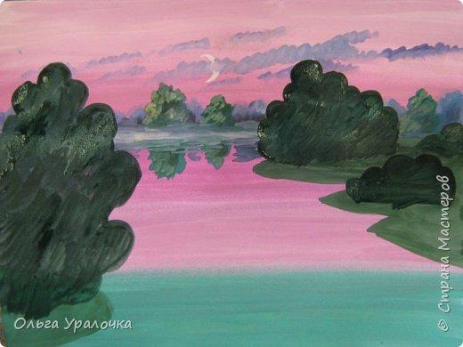 На этот МК меня вдохновила работа художника Рудакова Александра Владиславовича http://www.albatross-art.com/uploads/45654fae0ed5773d2996.jpg Композиция достаточно простая и может быть выполнении как людьми с опытом рисования, так и новичками . Работа выполняется поэтапно, без предварительного рисунка. Для выполнения работы нам понадобятся  гуашь, ватман формата А-3. , нейлоновые кисти под номерами 2 , 3 ,5.  фото 15