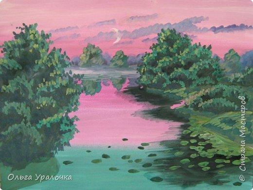 На этот МК меня вдохновила работа художника Рудакова Александра Владиславовича http://www.albatross-art.com/uploads/45654fae0ed5773d2996.jpg Композиция достаточно простая и может быть выполнении как людьми с опытом рисования, так и новичками . Работа выполняется поэтапно, без предварительного рисунка. Для выполнения работы нам понадобятся  гуашь, ватман формата А-3. , нейлоновые кисти под номерами 2 , 3 ,5.  фото 22