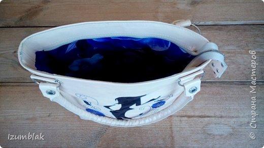 Сумочка сшита  из натуральной итальянской кожи шевро цвета топленого молока. фото 7
