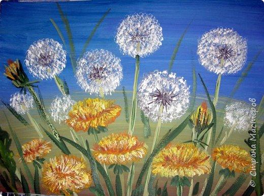 Картина панно рисунок Мастер-класс Рисование и живопись Одуванчики гуашью Ч 1 Бумага Гуашь фото 20