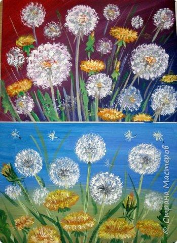 Картина панно рисунок Мастер-класс Рисование и живопись Одуванчики гуашью Ч 1 Бумага Гуашь фото 1