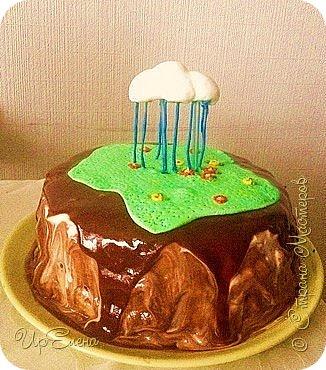 Торт ко дню рождения сыночка. Экспериментирую. Захотелось попробовать сделать торт с летящими элементами. Выбрала самую простую для себя композицию. Вот что получилось :) фото 1