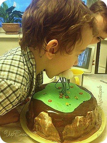 Торт ко дню рождения сыночка. Экспериментирую. Захотелось попробовать сделать торт с летящими элементами. Выбрала самую простую для себя композицию. Вот что получилось :) фото 3
