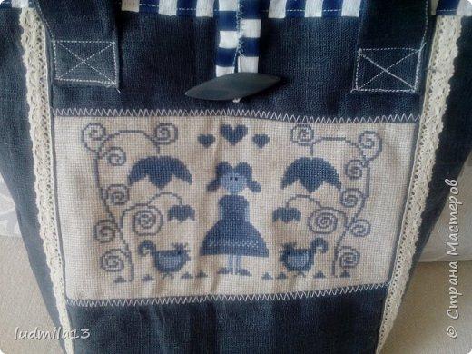 Здравствуйте! Еще одна летняя  сумка с вышивкой.  фото 5