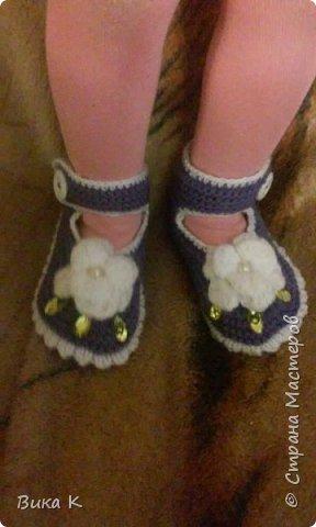 Гардероб Вязание спицами Пинетки тапочки носочки Пряжа фото 2