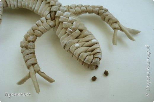 Мастер-класс Поделка изделие Плетение Ящерка Трубочки бумажные фото 29