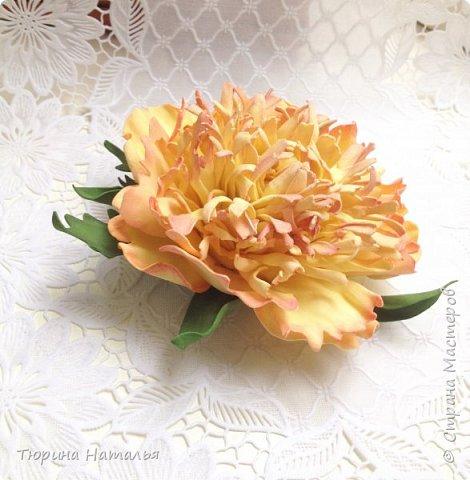 Привет всем!!! Хочу показать свои новенькие работы- брошку пион и заколку с желтыми розами.