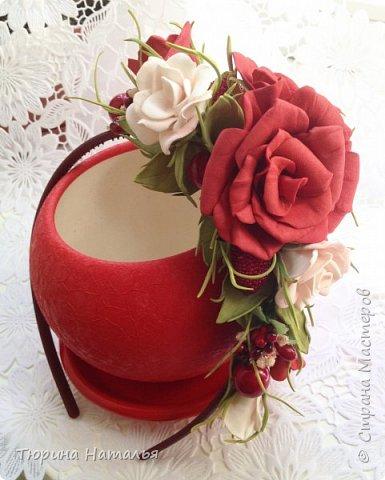 Всем привет!!! Решилась сделать первый ободок в ярких сочных тонах. Кроме цветов из фома добавила декоративные ягодки и тычинки.