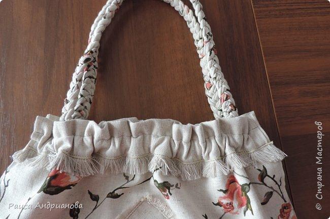 легкая летняя сумочка из льняной ткани фото 12