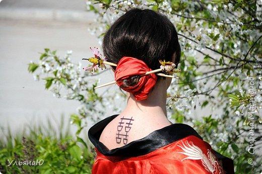 """Всем прекрасного настроения, СТРАНА!!! Продолжая серию """"Костюмы и образы своими руками или занятие для души"""" представляю вам новый образ - Китайская народная культура. Этот образ я придумала для своей сестрички Ксюши. Сначала хотела фотосет устроить в персиковом саду, но как всегда - то дождь, то все заняты, а ехать на машине 2 часа. Поэтому решили найти, что-то поближе и вот в 5 ти минутах ходьбы от дома цветущая вишня - тоже, красавица. фото 4"""