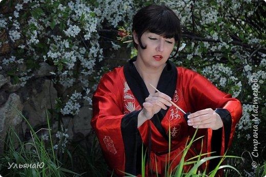 """Всем прекрасного настроения, СТРАНА!!! Продолжая серию """"Костюмы и образы своими руками или занятие для души"""" представляю вам новый образ - Китайская народная культура. Этот образ я придумала для своей сестрички Ксюши. Сначала хотела фотосет устроить в персиковом саду, но как всегда - то дождь, то все заняты, а ехать на машине 2 часа. Поэтому решили найти, что-то поближе и вот в 5 ти минутах ходьбы от дома цветущая вишня - тоже, красавица. фото 11"""