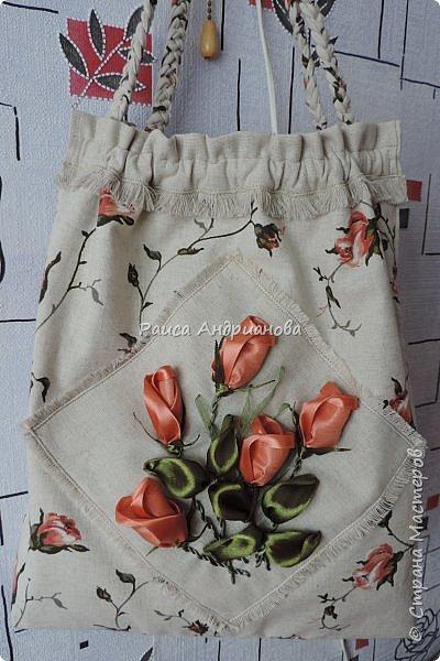 Гардероб Мастер-класс Вышивка Шитьё Летняя сумочка из льна Ленты Ткань фото 14