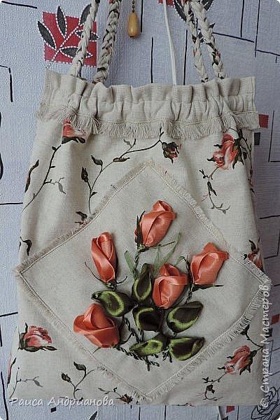 легкая летняя сумочка из льняной ткани фото 1