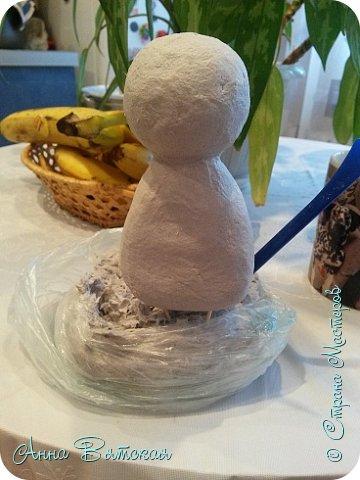 Куклы Мастер-класс Папье-маше Совушка на облаке  Бумага Клей Краска фото 7