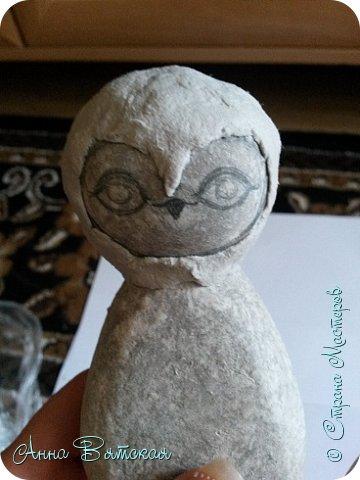 Куклы Мастер-класс Папье-маше Совушка на облаке  Бумага Клей Краска фото 13