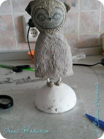Куклы Мастер-класс Папье-маше Совушка на облаке  Бумага Клей Краска фото 36
