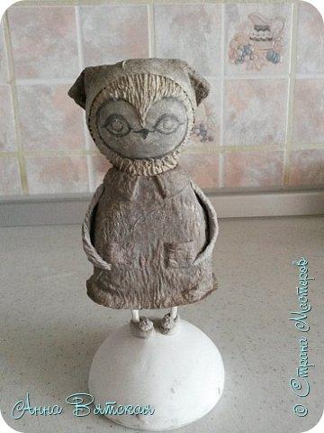 Куклы Мастер-класс Папье-маше Совушка на облаке  Бумага Клей Краска фото 45