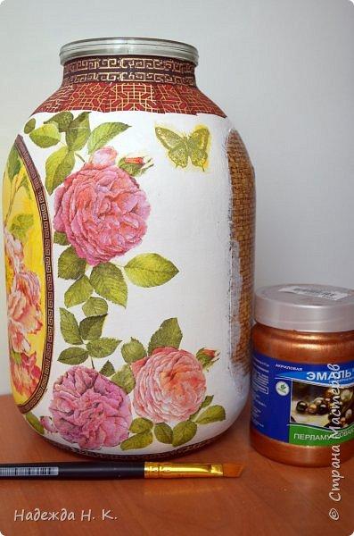 Декор предметов Мастер-класс Декупаж Кракелюр Китайская ваза из трехлитровой банки Банки стеклянные Краска Салфетки Скорлупа яичная фото 13