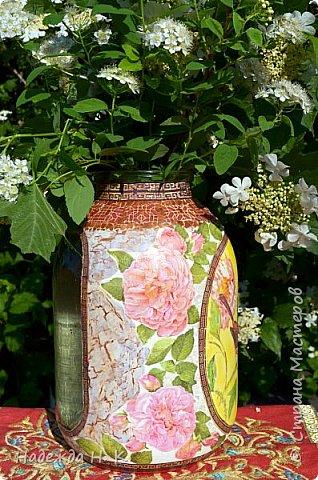 Декор предметов Мастер-класс Декупаж Кракелюр Китайская ваза из трехлитровой банки Банки стеклянные Краска Салфетки Скорлупа яичная фото 3