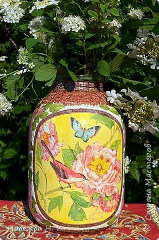 Декор предметов Мастер-класс Декупаж Кракелюр Китайская ваза из трехлитровой банки Банки стеклянные Краска Салфетки Скорлупа яичная фото 1