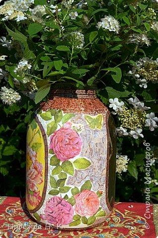 Декор предметов Мастер-класс Декупаж Кракелюр Китайская ваза из трехлитровой банки Банки стеклянные Краска Салфетки Скорлупа яичная фото 2
