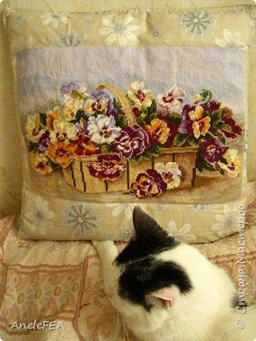 Вышила вот такую подушку. Было тяжело. Пяльцами не удалось воспользоваться, т.к. в наборе наволочка уже была сшита, с пяльцами было неудобно вышивать. фото 16
