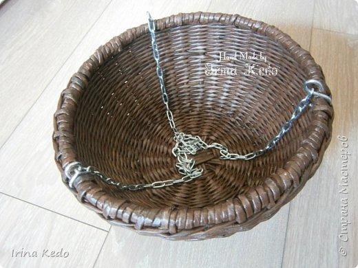 Мастер-класс Плетение Плетёное подвесное кашпо усовершенственное  Трубочки бумажные фото 12